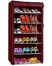 Ebee Store Iron Collapsible Shoe Stand (Maroon, 6 Shelves)
