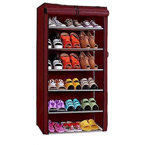 Ebee 6 Shalves Shoe Cabinet (Maroon)