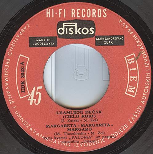 """Usamljeni Dečak (Cielo Rojo)/Margareta - Margarita - Margaro/Uvela Ruža (Vuela Paloma)/Ptica Sa Planine (Pajarillo Dela Siera)(7"""" Vinyl EP)(1965)(Diskos EDK 3042)"""