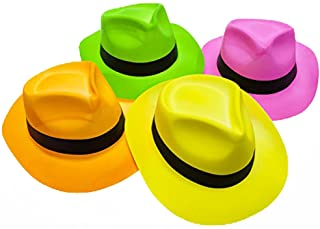 Novelty Place [Party Stars] Neon Fedora Plastic Party Hats - Gangster Style & UV Blacklight Glow - for Kids and Adults (Pa...