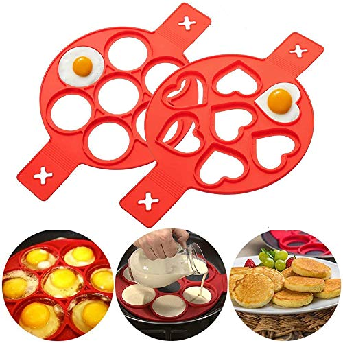 Hpamba Eier-Ring Mould for Round Eggs Pancake Mould Omelette Nonstick Silicone Egg Ring Antihaft-Silikonform for Round Eggs, Donuts, Muffins, Pancakes, 7 Hole Silicone Omelette Mould Ring 2 Pack