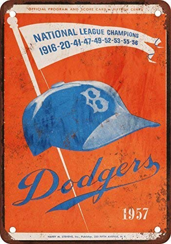 DKISEE Aluminum Safety Sign 1957 Brooklyn Dodgers Last Game In Brooklyn Vintage Look Reproduction Durable Rust Proof Warning Sign Aluminum Metal Sign 10