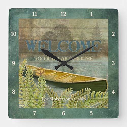 Reloj de pared cuadrado con diseño de árboles pescadores, canoa, helechos, cabina, funciona con pilas, silencioso, reloj de pared decorativo