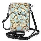 Elegante azul y dorado flor de loto pequeña bolsa cruzada teléfono celular monedero titular de la tarjeta bolsa con correa para las mujeres