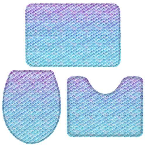 Mermaid Sponge 3 PCS Bathroom Rugs Set - Absorbent Non-Slip Bath Mat, Washable Contour U-Shaped Rug Toilet Lid Cover Large Set, Dreamlike Fish Scales Ombre Design
