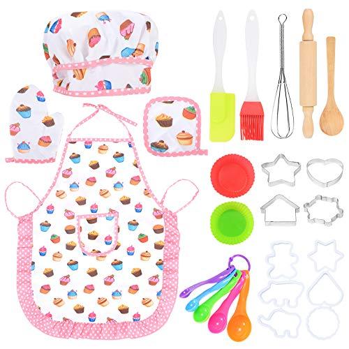 ZITFRI 22 PCS Set Grembiule Cucina Bambini Cappello Cuoco Bambino Set Cucina Bambini Accessori Cucina Bambini per Ragazze e Ragazzi, Regalo di Compleanno Giorno dei Bambini Natale Pasqua