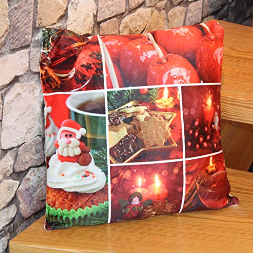 Kamaca Flauschig gefülltes Kissen mit LED Beleuchtung moderner Fotoprint mit integrierter LED Beleuchtung batteriebetrieben (Gefülltes Kissen Kandierte Früchte)