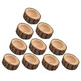 POFET Juego de 10 portavelas de madera con corteza de corteza de flores, soporte...