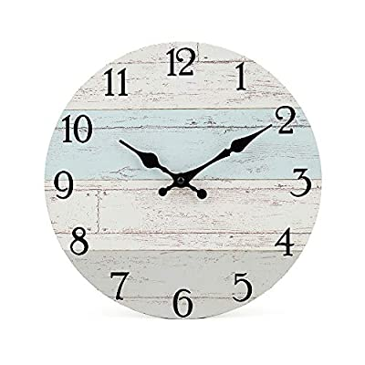 Silent Non-Ticking Wooden Decorative Round Wall Clock Quality Quartz Battery Operated Wall Clocks Vintage Rustic Country Tuscan Style Wooden Home Decor Round Wall Clock(10 Inch, Coastal Worn Blue )