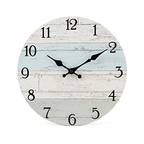 Reloj de pared redondo de madera silencioso, sin tachuelas, de cuarzo, funciona con pilas, estilo vintage rústico toscano, decoración del hogar, redondo (25cm, azul costero)