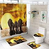 Eotifys Cortina de la Ducha Accesorios de baño Set Animales Cortinas de Ducha baño Cortina de baño con Ganchos