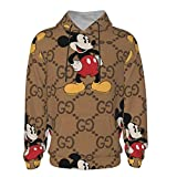 Texture Mickey Mouse Teen Hooded Sweate Hoodies 3D Print Pullover Hoodies Comfortable Pullovers Jacket for Boys Girls - 7-8 Years Black
