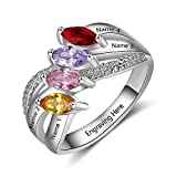 Lam Hub Fong Personalized Mothers Ring with 4 Smulated Birthstones Rings for Mother's Day Engravable Family Rings for 4 (8)