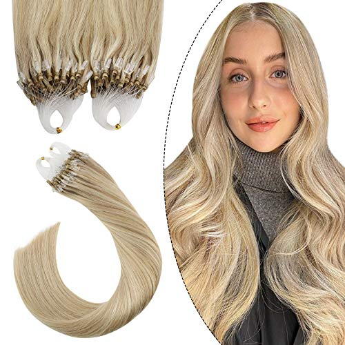 Extensions Loop Cheveux Naturels Ugeat 16 Pouces Micro Ring Hair Extension 50G 50Strands Extension Cheveux A Froid Remy Hair Highlight Blond Caramel a