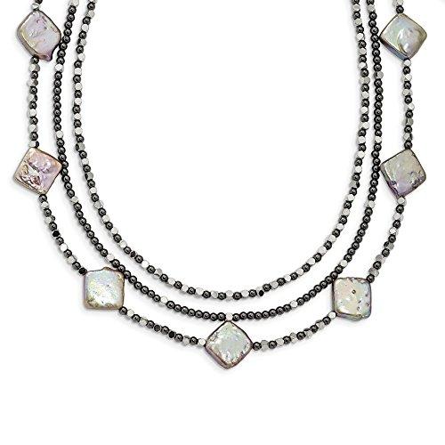 Diamond2deal 925 Sterling Silber Hämatit und Süßwasserkult. Perlenkette 3-reihig 44,5 cm