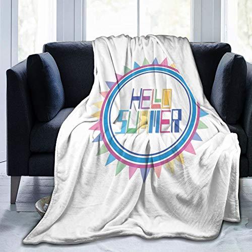 Manta mullida, diseño tipográfico retro funky impreso y formas geométricas en colores vivos, manta de bebé ultra suave para dormitorio, cama de TV, manta de cama de 80 x 60 pulgadas