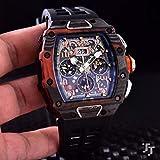 JFfactory Nuevo Reloj de Goma Negro para Hombre, Zafiro, mec