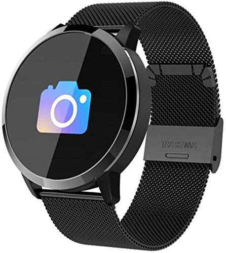 SmartWatch Q8 met Hartslagmeter - Klassiek - Stappenteller - Caloriemeter - Bericht notificaties WhatsApp - Android/iOS - Zwart/Metaal