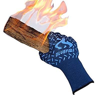 BlueFire Pro Heat Resistant Gloves - Oven - BBQ Grilling - Big Green Egg - Fireplace Accessories and Welding. Cut Resistant, Forearm Protection -100% Kevlar Certified 932°F Heat Resistance