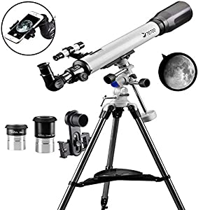 Telescope 70EQ Refractor Telescope Scope - 70mm Aperture and 700mm Focal Length, Multi-Layer Green Film, with Digiscoping Adapter for Photography by SOLOMARK