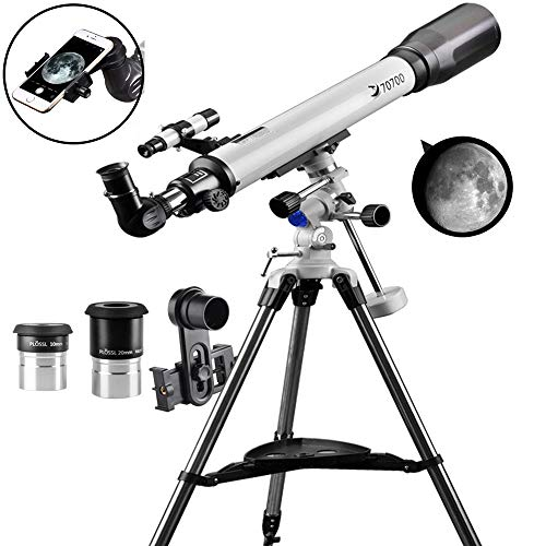 Telescope 70EQ Refractor Telescope Scope - 70mm Aperture and 700mm Focal Length, Multi-Layer Green Film, with Digiscoping Adapter for Photography