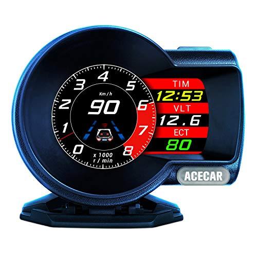 ACECAR F8 Universal Car HUD Dual System Head Up Display Digital OBD/GPS Speedometer OBDII EUOBD with Test Brake Test Overspeed Alarm HD LCD Refitting Code Table Display