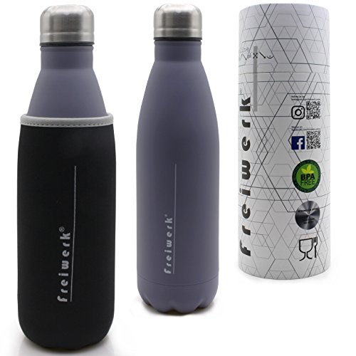 Botella deportiva acero inoxidable de doble capa mantiene el frío y el calor