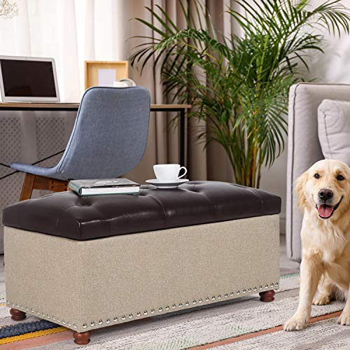 "Joveco 35"" Storage Bench Ottoman Footstool- Tufted Storage Ottoman End of Bed Bench with Rivet- Toy Chest Coffee Tables for Living Room and Bedroom (Brown Faux Leather Top/Beige Burlap)"