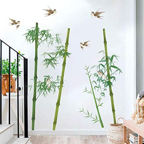 Runtoo Pegatinas de Pared Bambú Aves Stickers Adhesivos Vinilo Árboles Infantiles Decorativas Dormitorio Salon Habitacion Bebe