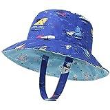 LAPI.ZAPI Baby Sun Hat Print Pattern Reversible Kids Boy Girls hat UPF 50+ Sun Protection Beach Bucket Hat Wide Brim (6-24 Months, Blue Shark)