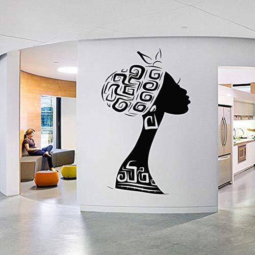 AGiuoo Hermosa Mujer Africana calcomanía de Pared Tribal Girl Vinilo Pegatina Moda Tienda Tienda calcomanía Negro Mujeres habitación decoración Nuevo 57x116cm