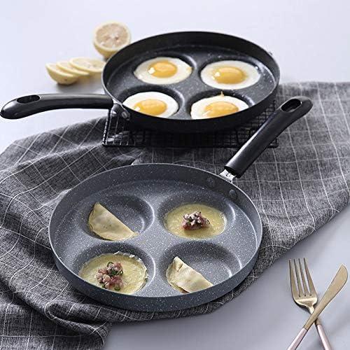 Poêle à frire Outils de cuisson Oeufs Ham PanCake Maker Aucune huile fumée antiadhésif Petit déjeuner Grill Pot Omelette Pan quatre trous POELES 1Pc (Color : Round) Love Heart