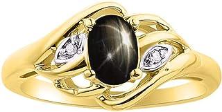 Juego de anillos de diamantes y piedras preciosas o semipreciosas en plata de ley, plata chapada en oro amarillo 925, oro ...