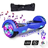 VEVEpower Patinete Eléctrico 6,5' Hoverboard, Potente batería de Litio 300W*2 Motor Eléctrico Scooter, Bluetooth Altavoz Balance Board con LED, Certificado UL, Azul