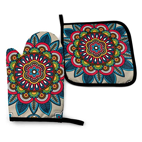 Unique Leaf Flower Meditation Tribal Kitchen Oven Mitts and Pot Holders Sets of 2,Resistant Hot Pads with Polyester Non-Slip BBQ Gloves for Kitchen,Cooking,Baking,Grilling
