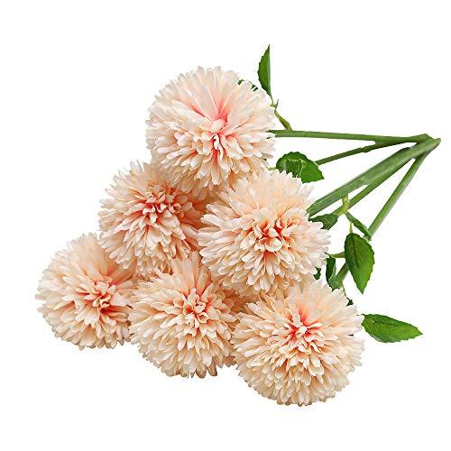 Tifuly Flores de Hortensia Artificial, 6 Piezas de crisantemo de Seda pequeña Bola de Flores para la decoración de la Oficina del jardín del hogar, Ramos de Novia, arreglos Florales(champán)