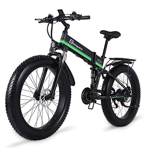 Shengmilo Bicicleta eléctrica de montaña Fat Tire 21 velocidades Off-Road Racing 26...