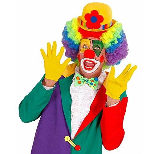 NET TOYS Gants Courts Jaune Gants de Clown avec Piqûre Déguisement Accessoire Gants Fins Gants pour Femme Accessoire Dame Gants