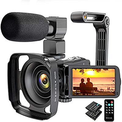 Video Camera Camcorder 2.7K Ultra HD 36MP YouTube Camera for Vlogging, IR Night Vision 16X Digital Zoom Camera Recorder with Microphone Lens Hood Handheld Stabilizer Remote Control, 2 Batteries by Actitop