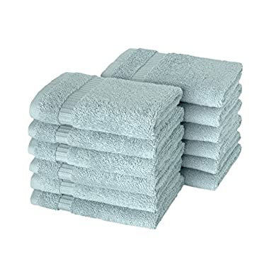 SALBAKOS Luxury Hotel & Spa Turkish Cotton 12-Piece Eco-Friendly Washcloth Set for Bath, 13 x 13 Inch, Seafoam Green