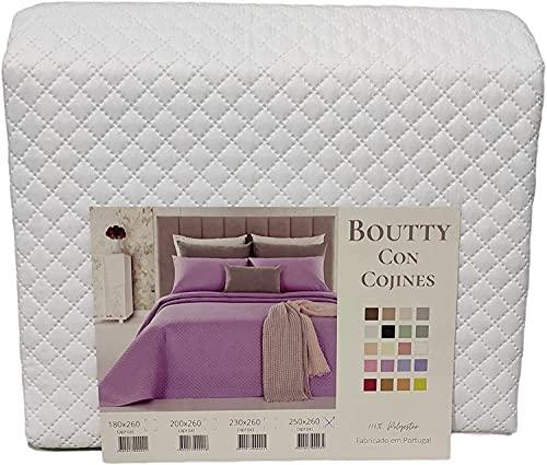 the best fashion house Colcha bouti Blanco (250 x 255) para Cama de 150 cm + 2 Fundas Cojines 50 x 50 cm