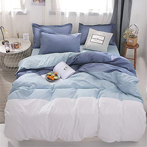 HJSM - Juego de ropa de cama de microfibra, 4 piezas, suave, cómoda, con sábana y 2 fundas de almohada (azul, 180 x 220 cm)