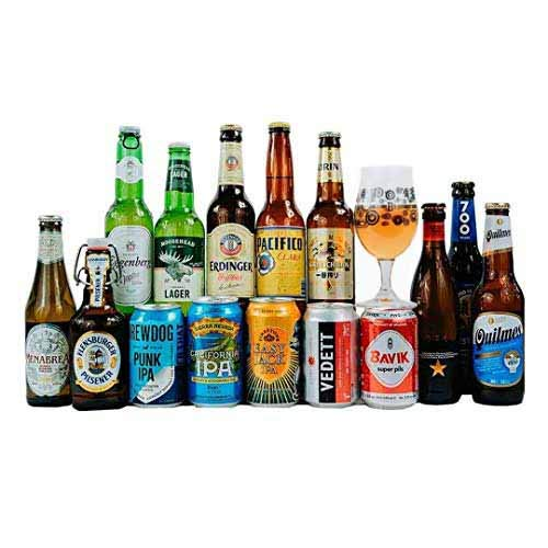 World Craft Beer Case of Mixed Globetrotting Ale, Lager & IPA's Gift Set with Glass (15 Pack)