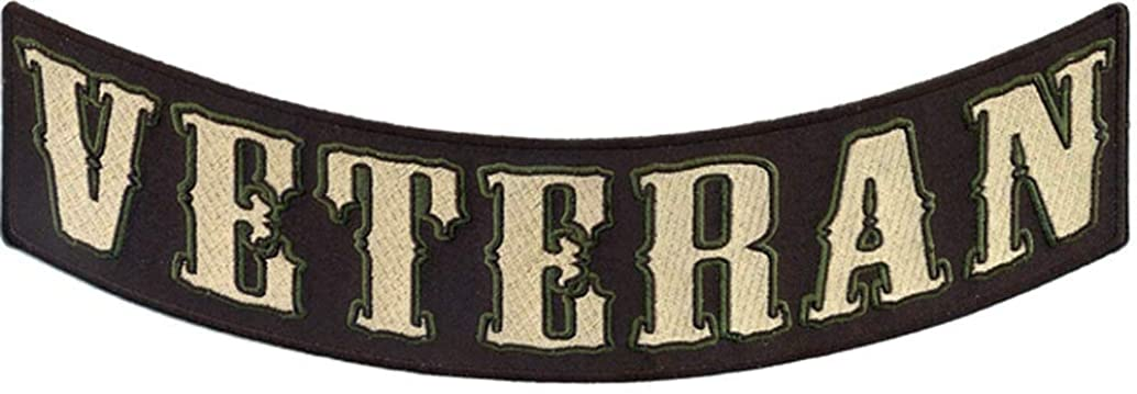Veteran Lower Rocker Patch - 12x4 inch. Embroidered Iron on Patch