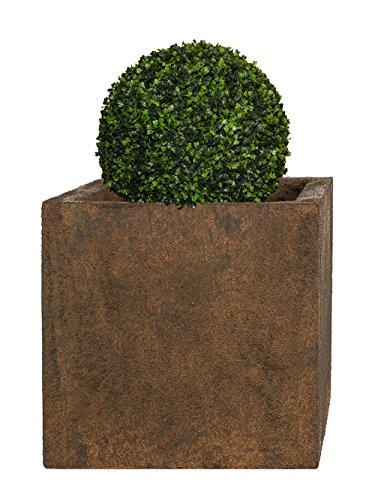 Pflanzwerk® Pflanzkübel Fiberglas Cube Rost Braun 23x23x23cm XXL *Frostbeständig* *UV-Schutz* *Qualitätsware*