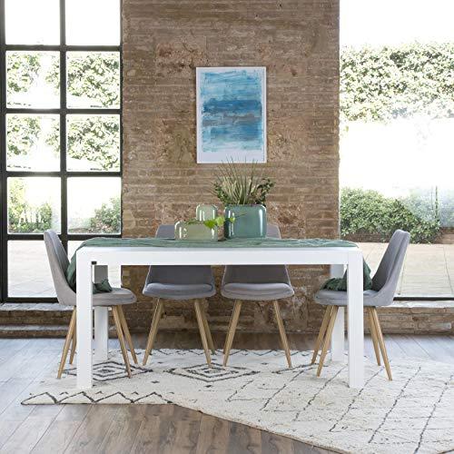 Gael Table À Rallonges 160/210 Blanche - Bois - 160x90x78 cm - Couleur Blanc Winter
