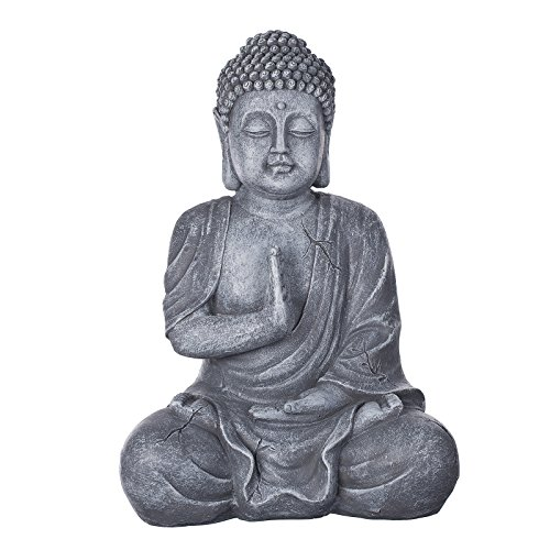 Buda b4017piedra gris, para interior y exterior, Figura de Buda XL 43cm de alto, Buda Estatua grande, de busto, Jardín Decoración, impermeable (No a las heladas) de piedra artificial (polirresina) muy elegante per pintadas a mano, muy fina con estructuras