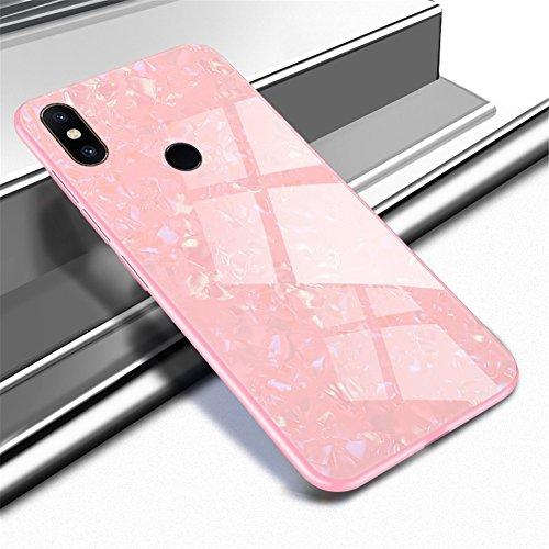 "XunEda Funda Xiaomi Mi Mix 2S 5.99"", 9H Vidrio Templado Respaldo TPU Bumper Non-Slip Cover Case Protectora Brillante Anti-Rasguño Anti-Scratch Case Cover para Xiaomi Mi Mix 2S (Rosa Claro)"