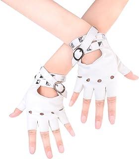 Best JISEN Women Punk Rivets Belt Up Half Finger PU Leather Performance Gloves Review