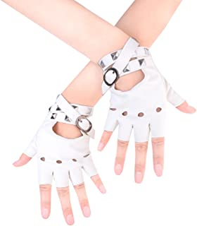 Women Punk Rivets Belt Up Half Finger PU Leather Performance Gloves